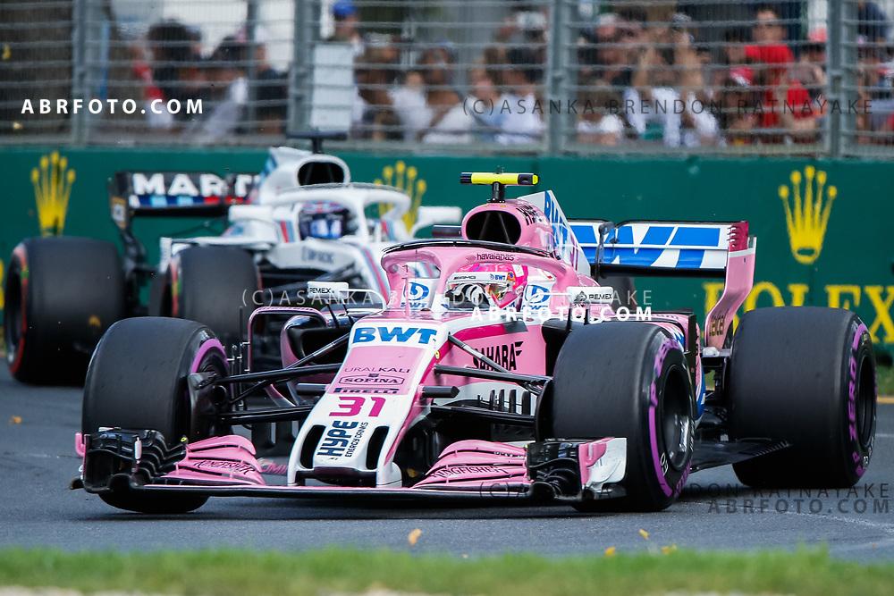 Force India driver Esteban Ocon of France during the 2018 Rolex Formula 1 Australian Grand Prix at Albert Park, Melbourne, Australia, March 24, 2018.  Asanka Brendon Ratnayake