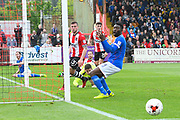 Jabo Ibehre (14) of Carlisle United misses the chance to equalise as the ball goes between him and the goal post during the EFL Sky Bet League 2 match between Exeter City and Carlisle United at St James' Park, Exeter, England on 6 May 2017. Photo by Graham Hunt.