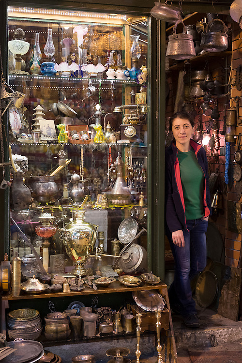 Shopkeeper at antique shop inside The Grand Bazaar, Kapalicarsi, great market in Beyazi, Istanbul, Republic of Turkey