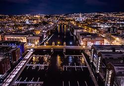 THEMENBILD - Stadtlichter von Trondheim, der Nidarosdom und der Hafen des Flusses Nidelva am Abend, aufgenommen am 13. Maerz 2019 in Trondheim, Norwegen // City lights of Trondheim, the Nidaros Cathedral and the port of the river Nidelva in the evening, Trondheim, Norway on 2018/03/13. EXPA Pictures © 2019, PhotoCredit: EXPA/ JFK