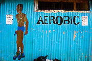 KENYA. Nairobi. A gym in the slum of Kibera...Kibera is Africa's largest slum and it is located in Nairobi, Kenya. It houses one million people squeezed into less than a square mile.