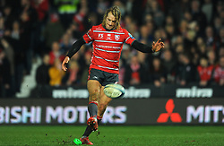 Billy Twelvetrees of Gloucester Rugby  kicks the ball for a try conversion - Mandatory by-line: Nizaam Jones/JMP - 22/02/2019 - RUGBY - Kingsholm - Gloucester, England- Gloucester Rugby v Saracens - Gallagher Premiership Rugby
