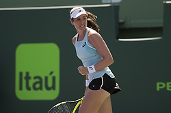 March 25, 2018 - Miami, FL, United States - KEY BISCAYNE, FL - March, 25: Johanna Konta(GBR) in action here plays Elise Mertens ((BEL) at the 2018 Miami Open held at the Tennis Center at Crandon Park.   Credit: Andrew Patron/Zuma Wire (Credit Image: © Andrew Patron via ZUMA Wire)