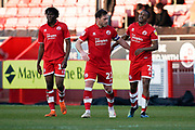 Goal, Lewis Young of Crawley Town scores and celebrates with his team mates during the EFL Sky Bet League 2 match between Crawley Town and Macclesfield Town at The People's Pension Stadium, Crawley, England on 23 February 2019.