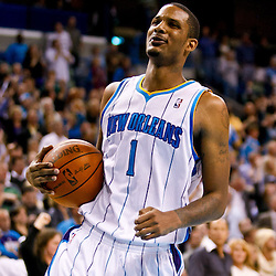 November 17, 2010; New Orleans, LA, USA; New Orleans Hornets small forward Trevor Ariza (1) reacts during the final moments of a win over the Dallas Mavericks at the New Orleans Arena. The Hornets defeated the Mavericks 99-97. Mandatory Credit: Derick E. Hingle