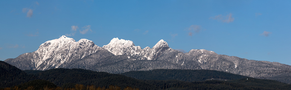 Mount Blandshard (The Golden Ears) with some fresh winter snow.  Photographed from Pitt Meadows, British Columbia, Canada.