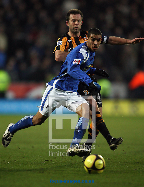 Hull - Saturday, January 24th, 2009: Ian Ashbee of Hull City and Chris Hackett of Millwall battleing for the ball during the FA Cup fourth round match at the KC Stadium, Hull. (Pic by Darren Walker/Focus Images)