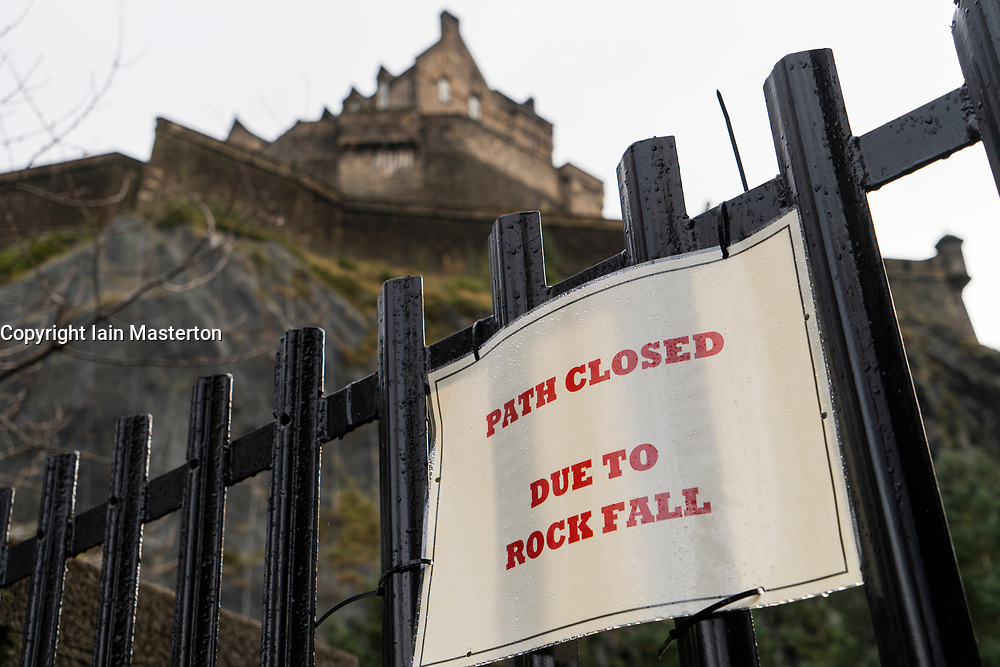 Edinburgh, Scotland, UK. 23 November, 2018. Footpath in Princes Street Gardens at base of Castle Rock and Edinburgh Castle is closed following the injury to a pedestrian from a falling rock. Man in serious condition and in hospital.