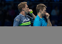 Tennis - 2017 Nitto ATP Finals at The O2 - Day Seven<br /> <br /> Mens Doubles: Semi Final 2 : Jamie Murray (Great Britain) & Bruno Soares (Brazil) Vs Henri Kontinen (Finland) & John Peers (Australia) <br /> <br /> John Peers (Australia) and Henri Kontinen (Finland) discuss tactics at the O2 Arena<br /> <br /> COLORSPORT/DANIEL BEARHAM