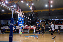 Jure Okroglic of Calcit Volley during 3rd Leg volleyball match between OK Calcit Volley and Salonit Anhovo in Semifinal of 1. DOL Slovenian National Championship 2017/18, on April 15, 2018 in Sports hall Kamnik, Kamnik, Slovenia. Photo by Urban Urbanc / Sportida