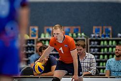 28-08-2016 NED: Nederland - Slowakije, Nieuwegein<br /> Het Nederlands team heeft de oefencampagne tegen Slowakije met een derde overwinning op rij afgesloten. In een uitverkocht Sportcomplex Merwestein won Nederland met 3-0 van Slowakije / Daan van Haarlem #1