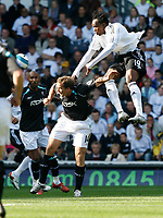 Photo: Steve Bond.<br /> Derby County v Bolton Wanderers. The FA Barclays Premiership. 29/09/2007. Claude Davis (R) outjumps Kevin Davies (L)