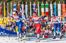 24.02.2019, Langlauf Arena, Seefeld, AUT, FIS Weltmeisterschaften Ski Nordisch, Seefeld 2019, Langlauf, Damen, Teambewerb, im Bild v.l. Sadie Bjornsen (USA), Natalia Nepryaeva (RUS), Laurien Van Der Graaf (SUI) // f.l. Sadie Bjornsen of the USA Natalia Nepryaeva of Russian Federation and Laurien Van Der Graaf of Switzerland during the ladie's cross country team competition of FIS Nordic Ski World Championships 2019 at the Langlauf Arena in Seefeld, Austria on 2019/02/24. EXPA Pictures © 2019, PhotoCredit: EXPA/ Stefan Adelsberger