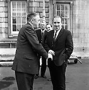 New Dáil Deputies arrive at Leinster House. The new Dáil Ceann Comhairle, Cormac Breslin, being welcomed to Leinster House by Neill Blaney T.D., Minister for Agriculture..14.11.1967