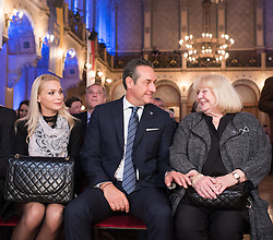 06.04.2016, Palais Ferstel, Wien, AUT, FPÖ, Festakt anlässlich 60 Jahre Freiheitlich Partei Österreich. im Bild Klubobmann FPÖ Heinz-Christian Strache mit Freundin Philippa Beck (L) und seiner Mutter Marion (R) // Leader of the parliamentary group FPOe Heinz Christian Strache with his girlfriend Philippa Beck (L) and his mother Marion (R) during ceremonial act according to 60 years of the austrian freedom party in austria. Vienna, Austria on 2016/04/06. EXPA Pictures © 2016, PhotoCredit: EXPA/ Michael Gruber