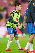 Phillippe Coutinho of Brazil warms up ahead of the international friendly match between England and Brazil at Wembley Stadium, London, England on 14 November 2017. Photo by Darren Musgrove.