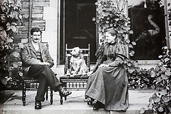 © London News Pictures. Collect picture shows Beatrix Potter age 32 with her brother Walter in 1898 at Lingholm. Previously unseen pictures of Beatrix potter with her family have been unearthed during the purchase and restoration of the Lingholm Estate, the Potter family holiday home, where Beatrix potter drew inspiration for many of her most famous characters. Famous books such as Peter Rabbit and Squirrel Nutkin were inspired by the surroundings of the Cumbria estate, which is being opened to the public for the first time. Photo credit: Andrew McCaren/LNP WORDS AVAILABLE HERE http://tinyurl.com/oyb7url