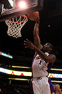 Apr 26, 2010; Phoenix, AZ, USA; Phoenix Suns forward Amare Stoudemire (1) dunks the ball during the first quarter in game five in the first round of the 2010 NBA playoffs at the US Airways Arena.  Mandatory Credit: Jennifer Stewart-US PRESSWIRE