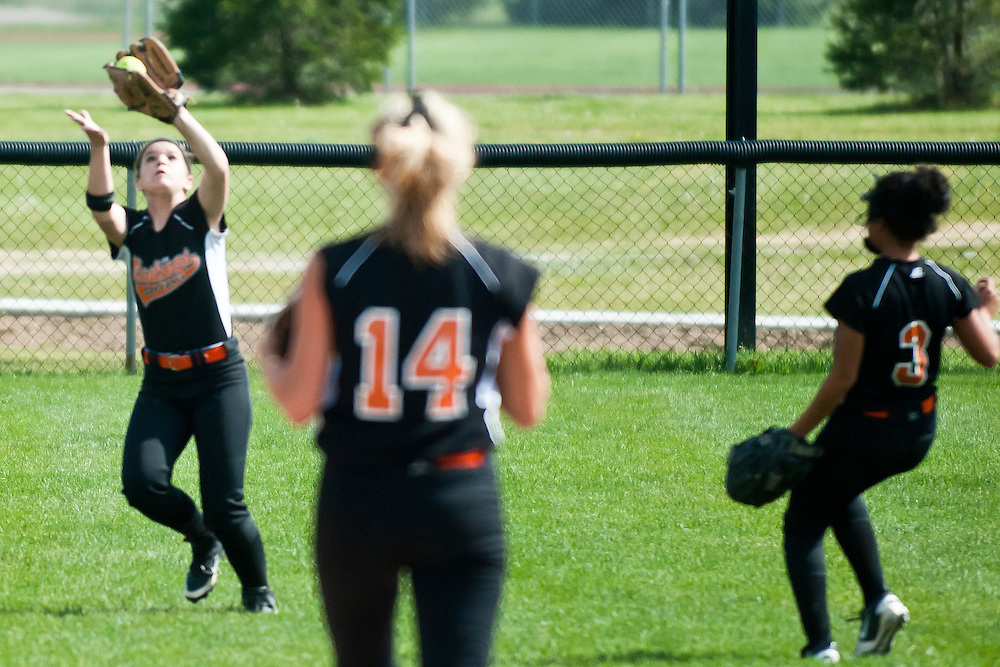 Lathan Goumas | MLive.com..May 3, 2012 - Jenna Williams of Clio High School catches a fly ball during the first game of a double header against Linden High School at Linden High School in Argentine Township on Thursday.