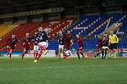 10th November 2017, McDiarmid Park, Perth, Scotland, UEFA Under-21 European Championships Qualifier, Scotland versus Latvia; Scotland's Ryan Hardie scores an injury time equaliser for 1-1 from the penalty spot