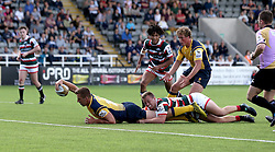 Huw Taylor of Worcester Warriors scores a try - Mandatory by-line: Robbie Stephenson/JMP - 30/07/2016 - RUGBY - Kingston Park - Newcastle, England - Worcester Warriors v Leicester Tigers - Singha Premiership 7s