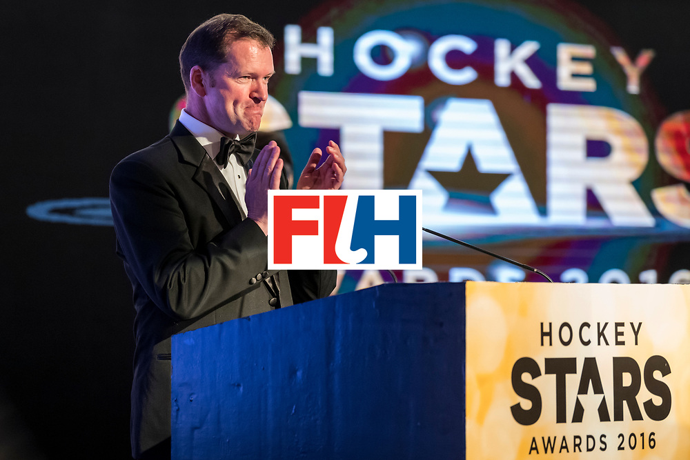 CHANDIGARH, INDIA - FEBRUARY 23: Jason McCraken, CEO of The International Hockey Federation speaks during the FIH Hockey Stars Awards 2016 at Lalit Hotel on February 23, 2017 in Chandigarh, India. (Photo by Ali Bharmal/Getty Images for FIH)
