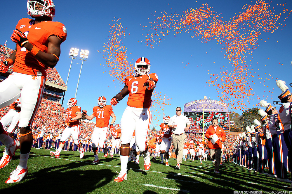 November 10, 2012; Clemson, SC, USA; Clemson Tigers defensive end Tavaris Barnes (6) runs down the Hill and into the Death Valley before the game against the Maryland Terrapins at Memorial Stadium in Clemson, SC. Mandatory Credit: Brian Schneider-www.ebrianschneider.com