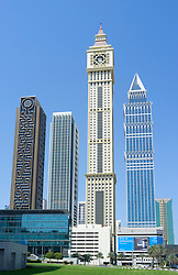 Skyline of modern skyscrapers along Sheikh Zayed Road in Dubai United Arab Emirates
