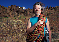 Portrait of David McGovern at Vantage climbing area in Eastern Washington.