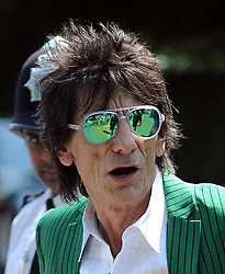 Ronnie Wood arriving at Wimbledon in London, UK. 07/07/2013<br /> BYLINE MUST READ : GOTCHAIMAGES.COM<br /> <br /> Copyright by © Gotcha Images Ltd. All rights reserved.<br /> Usage of this image is conditional upon the acceptance <br /> of Gotcha Images Ltd, terms and conditions available at<br /> www.gotchaimages.com