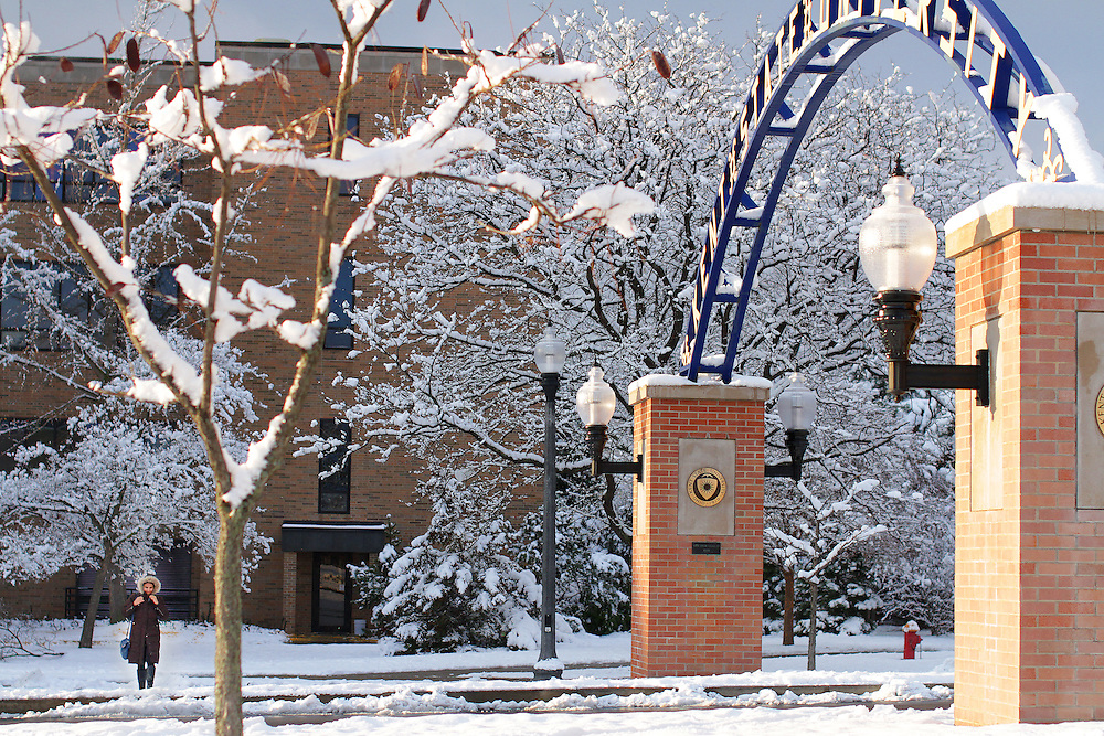 The first snowfall of the year fell on Monday, Nov 17, 2014. This scene is near the College of Business Administration.