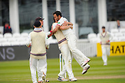 Somerset's Lewis Gregory celebrtates after taking the wicket of Yorkshire's Jack Leaning during the Specsavers County Champ Div 1 match between Somerset County Cricket Club and Yorkshire County Cricket Club at the County Ground, Taunton, United Kingdom on 17 May 2016. Photo by Graham Hunt.