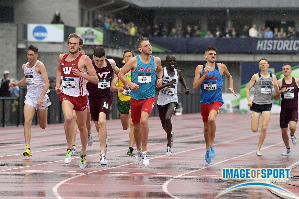Jun 8, 2018; Eugene, OR, USA; Oliver Hoare of Wisconsin defeats Vincent Ciattei of Virginia Tech and Josh Kerr of New Mexico to win the 1,500m in 3:44.77.during the NCAA Track and Field championships at Hayward Field. Ciatteri was second in 3:45.012 and Kerr was third in 3:45.015.