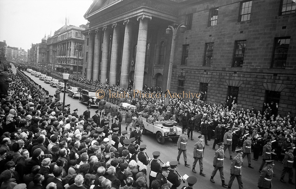 Thousands line the streets as Casement's funeral passes by the GPO..18.02.1965