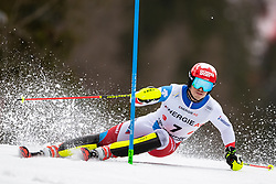 01.03.2020, Hannes Trinkl Weltcupstrecke, Hinterstoder, AUT, FIS Weltcup Ski Alpin, Alpine Kombination, Herren, Slalom, im Bild Loic Meillard (SUI) // Loic Meillard of Switzerland in action during his Slalom run of men's Alpine combined of FIS ski alpine world cup at the Hannes Trinkl Weltcupstrecke in Hinterstoder, Austria on 2020/03/01. EXPA Pictures © 2020, PhotoCredit: EXPA/ Johann Groder