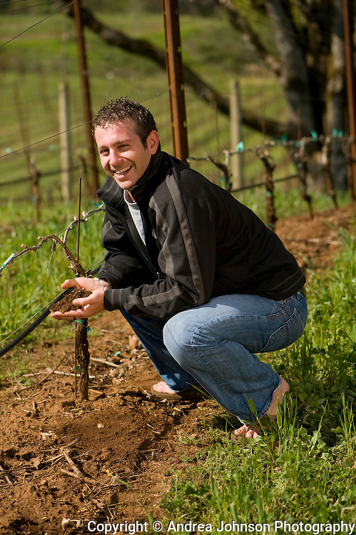 Todd Newman at Alexana vineyards, Dundee Hills, Willamette Valley, Oregon