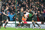 David Silva celebrates his and City's second goal during the Premier League match between Stoke City and Manchester City at the Bet365 Stadium, Stoke-on-Trent, England on 12 March 2018. Picture by Graham Holt.