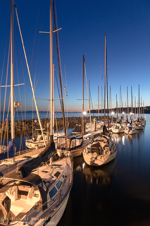 Sail boats docked at the White Rock Pier Marina in White Rock, British Columbia, Canada