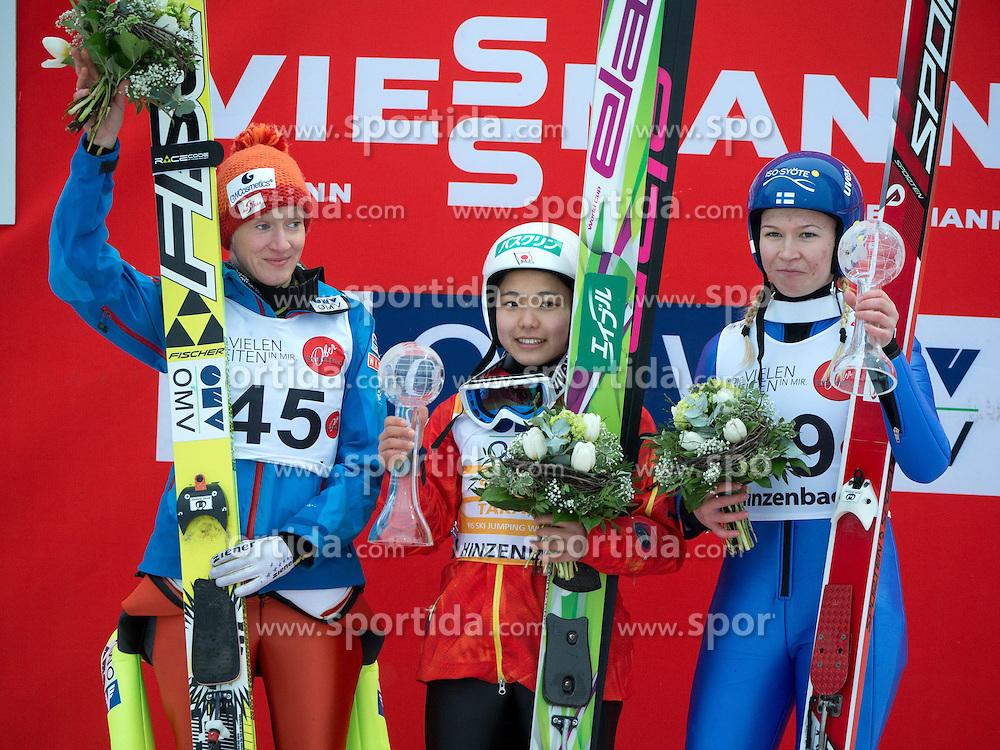 02.02.2014, Energie AG Skisprung Arena, Hinzenbach, AUT, FIS Ski Sprung, FIS Ski Jumping World Cup Ladies, Hinzenbach, Wettkampf, im Bild das Siegerpodest in Hinzenbach 2. Platz #45 Daniela Iraschko-Stolz (AUT), 1. Siegerin Sara Takanashi (JPN), 3. Platz Julia Kykkaenen (FIN) // during FIS Ski Jumping World Cup Ladies at the Energie AG Skisprung Arena, Hinzenbach, Austria on 2014/02/02. EXPA Pictures © 2014, PhotoCredit: EXPA/ Reinhard Eisenbauer