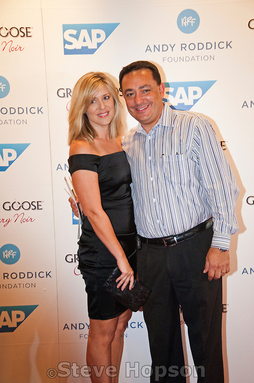 Austin police chief Art Acevedo and Wife at the Andy Roddick Foundation, Austin, Texas, September 21, 2012.