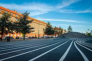 Stripey road design in the pedestrian area of Nørrebro in Copenhagen.