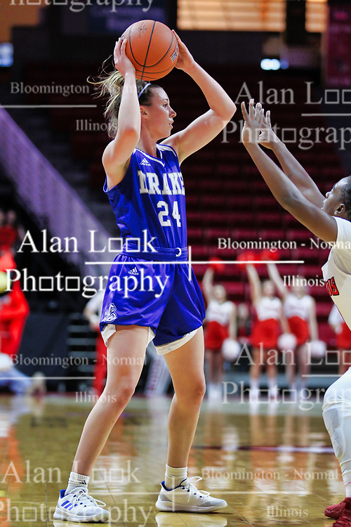 NORMAL, IL - January 06: Nicole Miller guarded by Te Te Maggett during a college women's basketball game between the ISU Redbirds and the Drake Bulldogs on January 06 2019 at Redbird Arena in Normal, IL. (Photo by Alan Look)