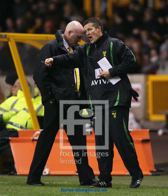 Wolverhampton - Tuesday February 3rd, 2009: Ian Butterworth (R), assistant manager to Bryan Gunn (L), manager of Norwich City during the Coca Cola Championship match at Molineaux, Wolverhampton. (Pic by Chris Ratcliffe/Focus Images)