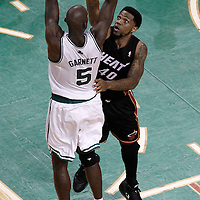 03 June 2012: Boston Celtics power forward Kevin Garnett (5) takes a jumpshot over Miami Heat power forward Udonis Haslem (40) during the Boston Celtics 93-91 overtime victory over the Miami Heat, in Game 4 of the Eastern Conference Finals playoff series, at the TD Banknorth Garden, Boston, Massachusetts, USA.