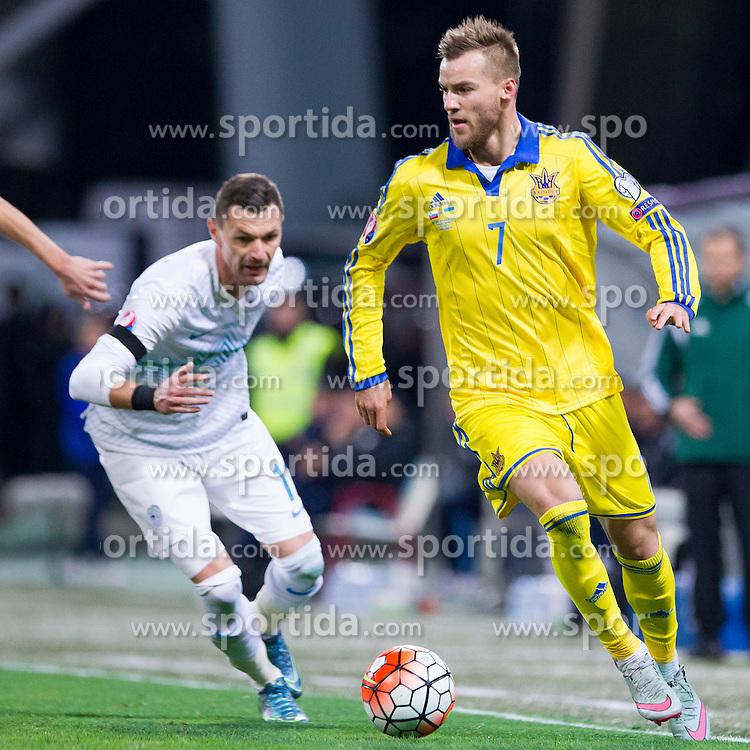 Andriy Yarmolenko (UKR) during the UEFA EURO 2016 Play-off for Final Tournament, Second leg between Slovenia and Ukraine, on November 17, 2015 in Stadium Ljudski vrt, Maribor, Slovenia. Photo by Urban Urbanc / Sportida