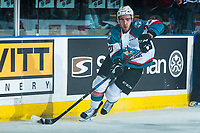 KELOWNA, CANADA - MARCH 31: Reid Gardiner #23 of the Kelowna Rockets skates with the puck against the Kamloops Blazers on March 31, 2017 at Prospera Place in Kelowna, British Columbia, Canada.  (Photo by Marissa Baecker/Shoot the Breeze)  *** Local Caption ***