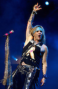 LONDON, ENGLAND - MARCH 31:  Michael Starr of Steel Panther performs live on stage at Brixton Academy on March 31, 2012 in London, United Kingdom.  (Photo by Simone Joyner/Redferns via Getty Images) *** Local Caption *** Michael Starr