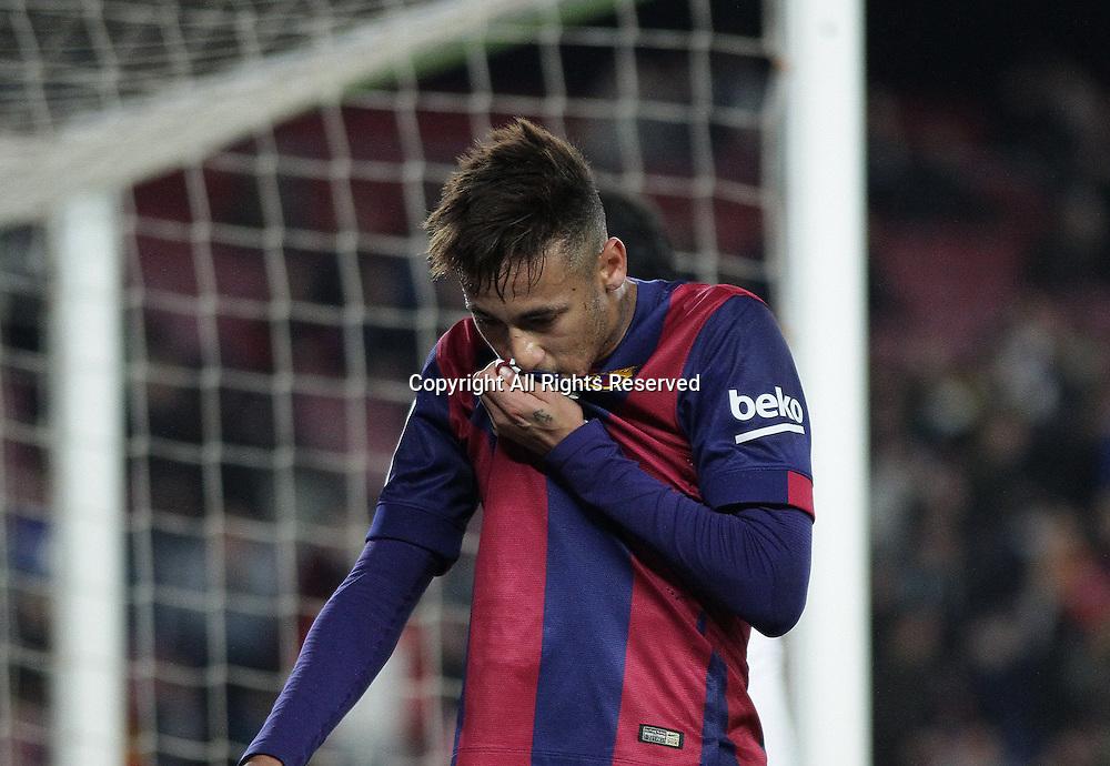 08.01.2015. Barcelona, Spain. Copa del Rey. Barcelona versus Elche CF. Neymar kisses his badge after he scores for Barca