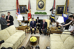 President Donald Trump speaks as South Korean President Moon Jae-in listens during a meeting in the Oval Office of the White House on May 22, 2018 in Washington DC.<br /> (Photo by Oliver Contreras/SIPA USA)