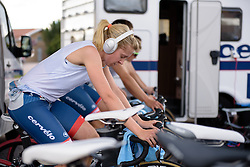 Stephanie Pohl (Cervélo Bigla) warms up for the 42,5 km team time trial of the UCI Women's World Tour's 2016 Crescent Vårgårda Team Time Trial on August 19, 2016 in Vårgårda, Sweden. (Photo by Sean Robinson/Velofocus)